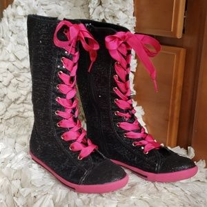 Black & Hot-Pink Mid Calf Sneakers